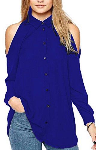 Freestyle Donne Felpa Shirts di Colore Solido Casual Top Maglietta Sexy Lunga Manica Spalla Fredda Tunica Camicie Sciolto Chiffon Bluse Blu reale
