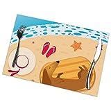 Tovagliette Tovagliette Bassotto sulla Spiaggia Tovaglietta per Dormire Set di 6 tovagliette isolanti Antiscivolo Facili da Pulire per Tavolo da Cucina da Pranzo 12X18 Pollici