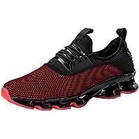 JiaMeng Zapatillas de Correr Hombre Color de Hechizo Casual Deportivas de Malla con Cordones Planas Resistentes al Desgaste Antideslizantes Zapatillas Ligeras