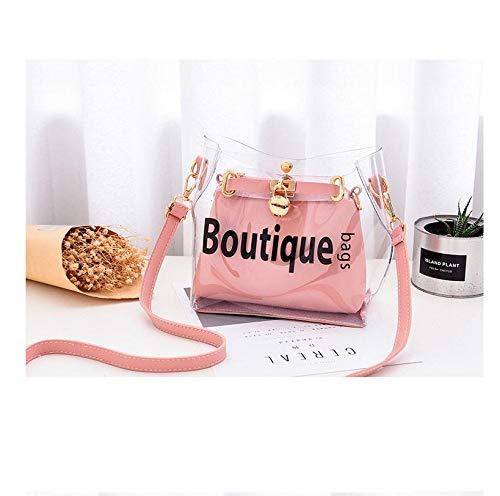 Transparente Mode-Umhängetasche mit Umhängetasche in Pink