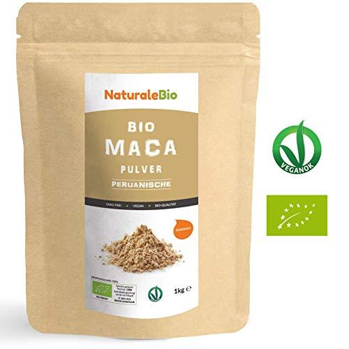 Maca Pulver Bio [ Gelatiniert ] 1kg. Natürlich und Rein, hergestellt in Peru aus Bio Maca Wurzel. Superfood reich an Aminosäuren, Ballaststoffen, Vitaminen und Mineralien. NATURALEBIO