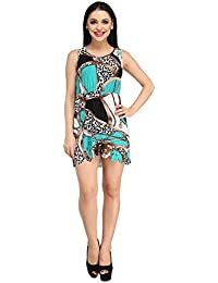 86c3ab1144 N-Gal Women Designer Blue Abstract Print Round Neck Zig Zag Lace Cut Short  Beach