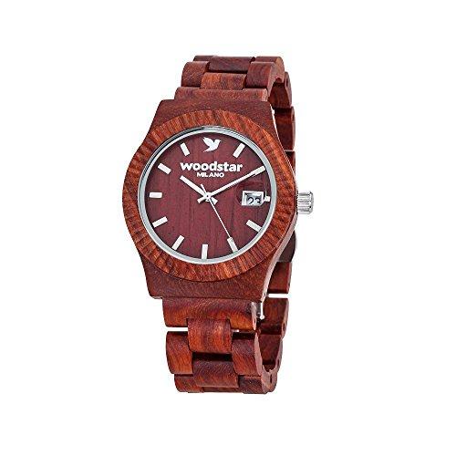 Woodstar® MURUI | Orologio da polso in legno naturale | Movimento Svizzero al Quarzo con Datario | Colore Rosso con dettagli Cromati | Moda Uomo Donna Unisex | Legno di Sandalo di Alta Qualità