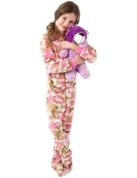 Esquijama rosa de camuflaje para niñas con patucos integrados, de Big Feet Pyjamas