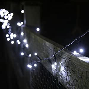 100 White Led Solar Powered Garden Fairy Lights By