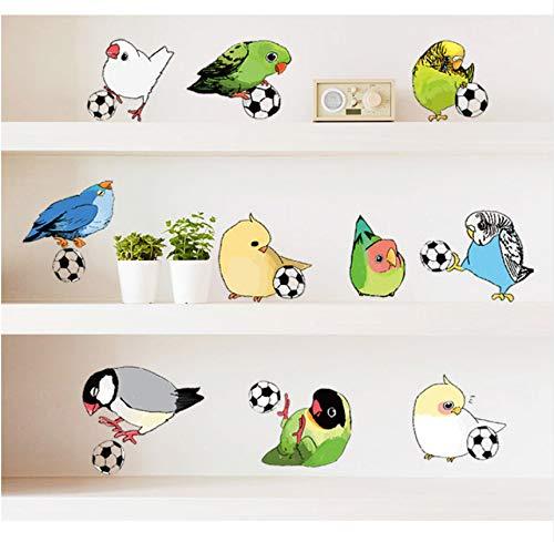 Syssyj 57X70Cm Kinderzimmer Schlafzimmer Kindergarten Home Decorvinyl Pvc Hintergrund Wandbild 3D Cartoon Papagei Vogel Spielen Fußball Wandaufkleber