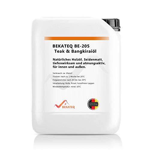 BEKATEQ BE-205 Teaköl, 10l farblos, Bangkiraiöl für innen und aussen, Teakholz Pflege Öl - natürlich, lösemittelfrei, wetterfest