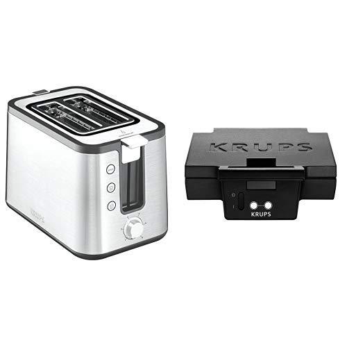 Krups KH442D10 Control Line Premium Toaster mit 6 Bräunungsstufen (720 Watt) edelstahl/schwarz & FDK 451 Sandwich-Toaster (850 Watt, Toastplatten 25 x 12 cm) schwarz