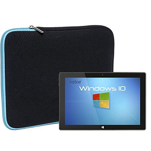 Slabo Tablet Tasche Schutzhülle für Rotor 10.1 Hülle Etui Case Phablet aus Neopren – TÜRKIS/SCHWARZ