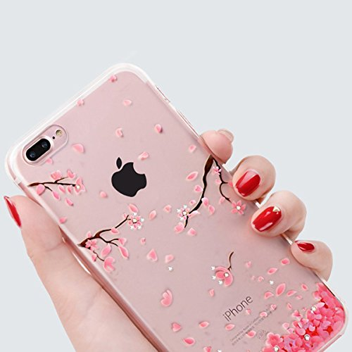 iPhone 7 Plus Hülle, iPhone 7 Plus Case, Felfy iPhone 7 Plus Fashion Luxus Ultra Slim Galvanotechnik Soft Gel TPU Silikon Gel Schmetterling Blumen Gold Muster Glitter Bling Schein Glänzenden Kristall  Kirsche #12