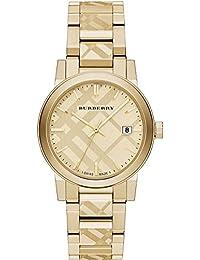 Burberry bu9038 38 mm oro pulsera de acero y funda sintética Sapphire de los hombres y las mujeres del reloj