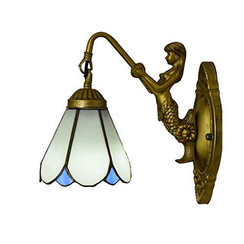 Litaotao Tiffany Style Wandleuchte 6 Zoll Amerikanischer Minimalistischer Handgefertigter Glasmalerei-lampenschirm Balkon Einzelkopf-ganglichter, E27,110-240V (Glasmalerei Lampenschirm)