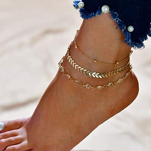 ishbone Fußkettchen Mode Miltilayered Strass Fußkettchen Armbänder Strand Fuß Schmuck für Frauen und Mädchen (Gold) ()