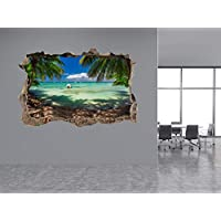 Beautiful sea View from The Beach Photo Hole in Wall Sticker Wall Mural 71469615 (30cm x 20cm)