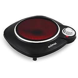 Cusimax 1200W Placa de infrarroja, Hornillos eléctricos con 18 cm de superficie de cocción, Temperatura ajustable Placa de cocción, CMIP-B112, Negra