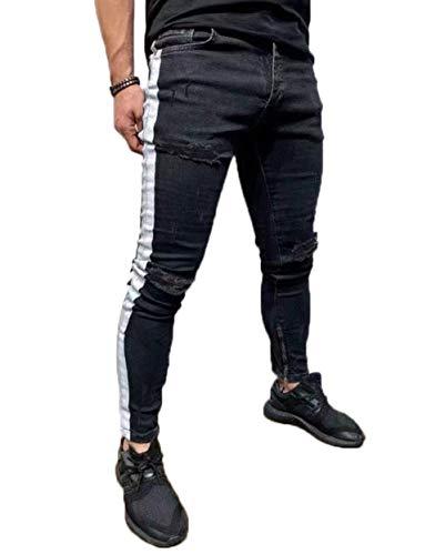 Vawal Herren Slim Fit Strecken Skinny Zerrissen Denim Jeans Destroyed Tapered Bein Hosen (S, Schwarz)