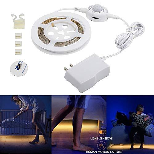 BAIYA LED-Streifen Bettlicht-Kit Induktionslichtleiste Bewegungssensor Intelligentes Körpersensorlicht Nachtlicht Nachttischlampe Beleuchtung Wasserdicht Schrank Kabinett Garderobenlicht Krippe Lampe (Kabinett-licht-kit)