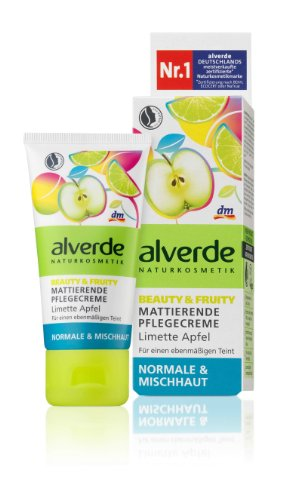 Alverde - Crème de soin matifiante pour peaux normales et mixtes BEAUTY & FRUITY - citron vert et pomme bio - 50 ml