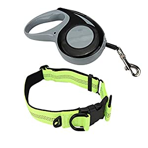 SENZEAL-Dog-Leash-Retractable-Dog-Lead-Extendable-Tape-5M-16FT-for-Medium-and-Small-Dog-Cat-Pet-Lead-Tape-with-Collar-Buckle-Strong-Adjustable-Dog-Collar-and-Lead-Set