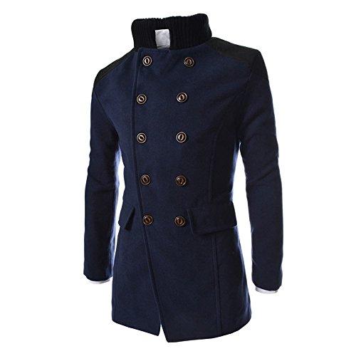 KPILP Herren Winter Zweireiher Revers Stehkragen Windjacke Trench Warm Outwear Smart Jacke Lapeled Woolen Langer Mantel(Marine, EU-50/CN-XL Packable Trench