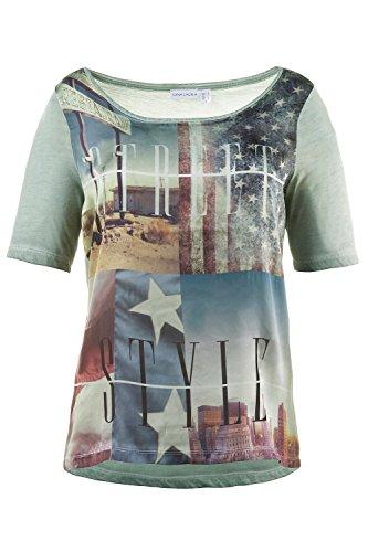 GINA_LAURA Damen T-Shirt | Amerika-Druck, Schrift, Strass | U-Boot-Ausschnitt, 1/2-Arm | Rückseite unifarben, Jersey | bis Größe XXXL 707640 Salbei