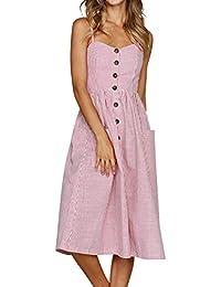 9eb1f7dc5 Mujer Vestidos a Media Pierna con Botones Delanteros y Bolsillos Elegantes  Cuello en V Tunica Etnica