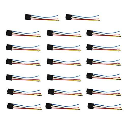 perfk 20Pcs 5 Pin Leitungen Kabel ReIaissockel Harness Stecker 12VDC Multi-Purpose Heavy Duty Standard-Relay-Kits für Auto - Heavy Duty Standard Kit