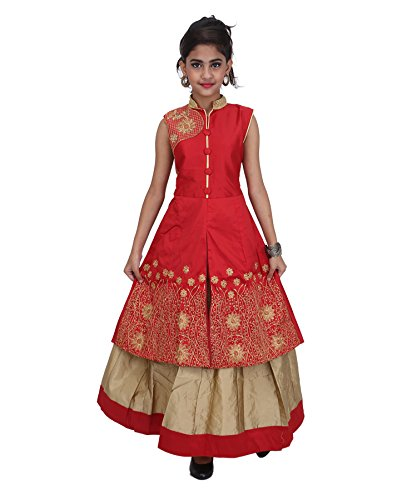 JBN Creation Girls Red Cotton Silk Lehenga (Size: 6-7 Years)