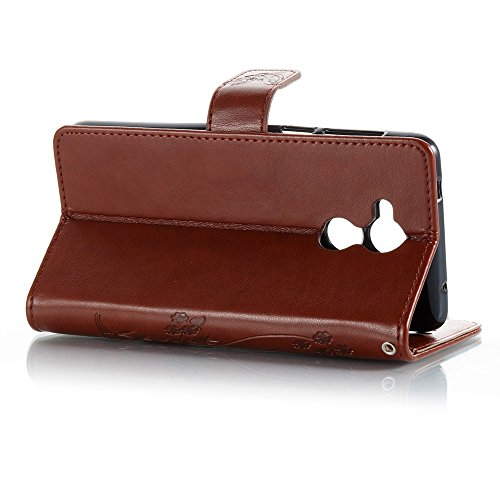 EKINHUI Case Cover Solid Color Faux Leder Bookstyle Brieftasche Stand Case mit geprägten Blumen & Lanyard & Card Slots für Huawei Changxiang 6s und 6C ( Color : Purple ) Brown