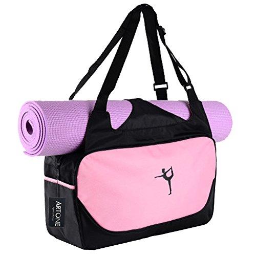 Artone Wasserabweisend Oxford Sporttaschen Trainieren Yogatasche Große Yoga Tasche für Matte und Zubehör Pink