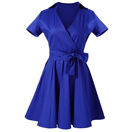 MIOIM® Elegente Vestido de Vintage 50s 60s Swing Rockabilly de Manga Corta con Diseño de Cintura Vestido de Fiesta de Noche para Mujeres
