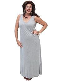 LOTUSTRADERS Damen V-Ausschnitt Maxi Kleid