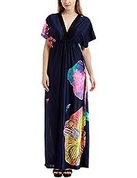 Feoya Mujer Vestido Tamaño Grande con Mangas de Murciélago Escote en V Larga hasta el Suelo - Azul Oscuro y Mariposas