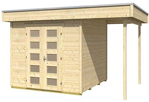 Skan Holz Blockbohlenhaus Venlo Größe 2 mit Schleppdach, 380 x 250 cm