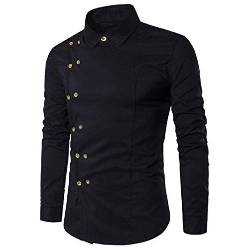 KEERADS Herren Hemden,[unregelmäßige Ränder],[asymmetrisch Knopf],[Stehkragen],[Slim Fit],[Langarm] (S(Etikettengröße M), Schwarz C) -