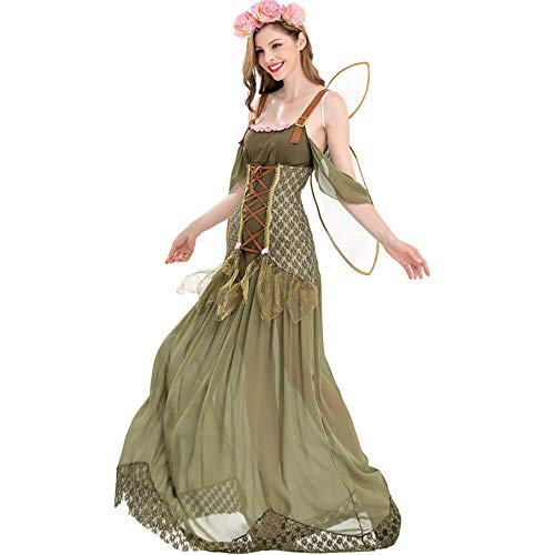 GIFT ZHIZHUXIA Erwachsene Frauen Mädchen Foreset Elfen Flower Fairy Halfter Langes Kostüm mit Flügel und Kopfbedeckung Weihnachtsfeier Kleid Requisiten (Farbe : Photo Color, größe : XL)