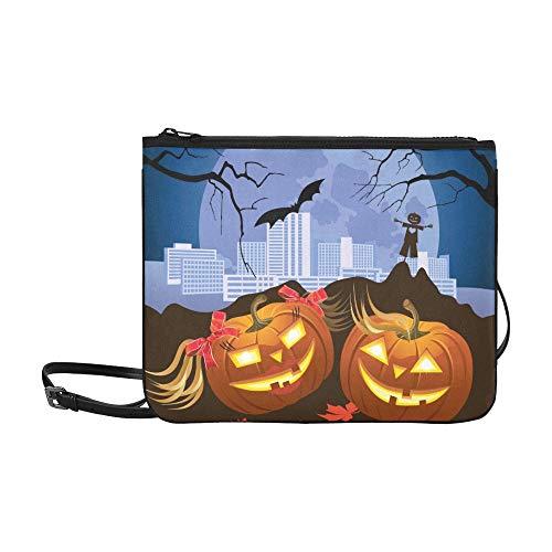 ete Kürbis Halloween Night Moon benutzerdefinierte hochwertige Nylon dünne Clutch Crossbody Tasche Umhängetasche ()