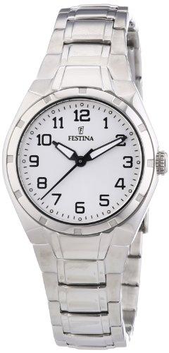Festina Sport F16485/A - Reloj analógico de cuarzo para mujer, correa de acero inoxidable color plateado (agujas luminiscentes)