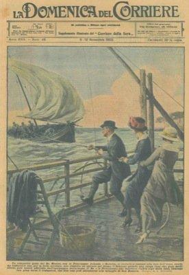 Il Re mentre, con le Principesse Jolanda e Mafalda, si trovava a pescare alla foce dell'Arno, scorto un trabaccolo in difficolta' ...