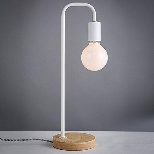 CLG-FLY Illuminazione lampada del comodino Nordic camera da letto studio scrivania legno creativo moderno minimalista illuminazione lettura T3720 verniciato bianco in ferro battuto-contenente 95 latte bianco perla lampadine,Lampadina di latte bianco Dragon