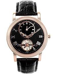 Boudier & Cie Herren-Armbanduhr Automatik Analog Leder Schwarz - B15H5