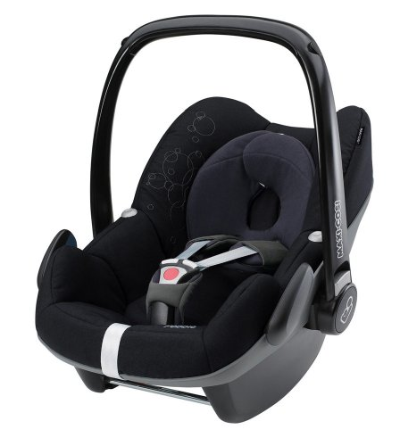 Maxi-Cosi 63002881 - PEBBLE JET BLACK Kinderautositz Gruppe 0+ (bis 13 kg), ab der Geburt bis ca. 12 Monate, aus dem Family Fix Konzept