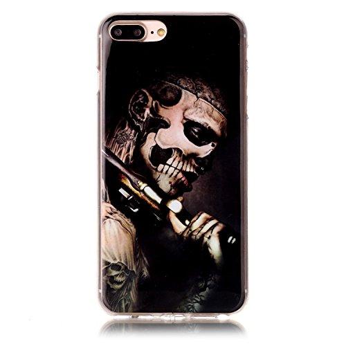 iPhone 7 Plus Hülle,iPhone 7 Plus Silikon Case,iPhone 7 Plus Cover - Felfy Ultra Dünne Weicher Slim Gel Flexible Soft TPU Silikon Hülle Schutzhülle Silikon Hülle Muster Farbmalerei Beschützer Hülle Ha Schädel Bewaffneten