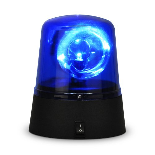 La sirena blu della polizia - luce a LED divertente e rotante - operata a batteria