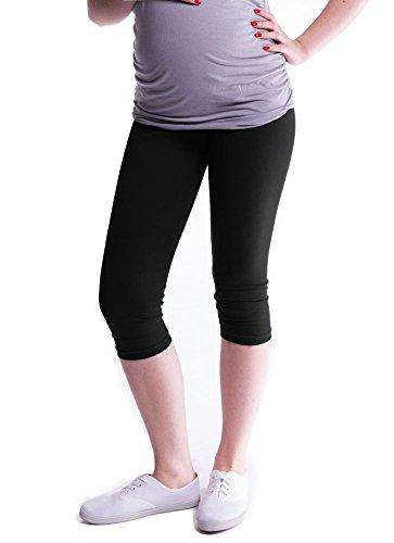 Mija - Oasi - Gute Qualität Umstandsleggings für Schwangere Capri 3/4 Leggings / Hose 3082 (L, Schwarz)