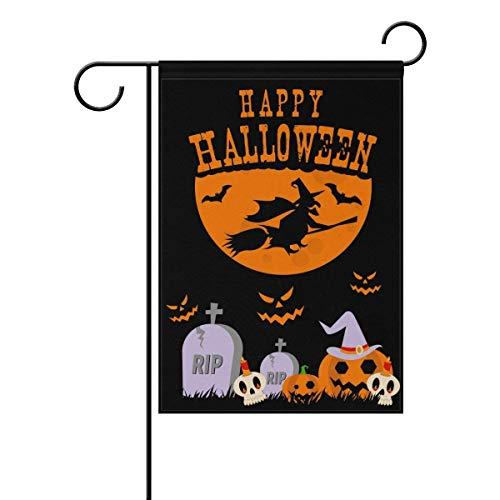 Dozili Flagge Happy Halloween Katze Magische Hexe Nacht Mond Dekoration Garten Flagge Wetterfest & doppelseitig Hofflagge, Polyester, bunt, 12.5