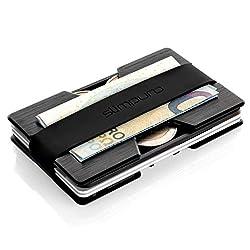 Premium Kreditkartenetui aus Aluminium mit Münzfach und Geldklammer Nano - RFID NFC Schutz - Slim Wallet Kartenetui - Filzschutz gegen Kartenabrieb - Geldbörse Portmonee für Minimalisten (Schwarz)