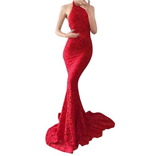 BANAA Abito Donna Abito da Sera Abiti Lunghi Donna Eleganti Vestiti in Pizzo  Vestito con Paillettes d210b7f236f