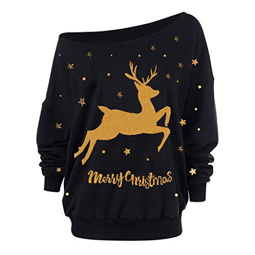 MORCHAN  Cadeaux de noël Femmes de Noël à Manches Longues Bretelles Sweat imprimé Pull Tops Chemisier(Medium,Marine)