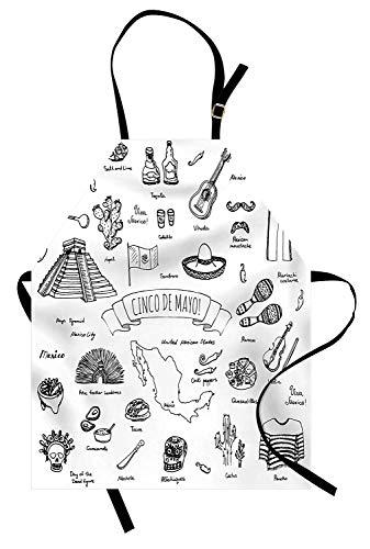 Mexikanische Schürze, Cinco de Mayo Kalligraphie mit Maya-Pyramiden-Musikinstrumenten-Küche-Design, Unisex-Küchenschürze mit verstellbarem Hals für das Kochen Backen im Garten arbeiten, Schwarz-Weiß (Cinco De Maya)